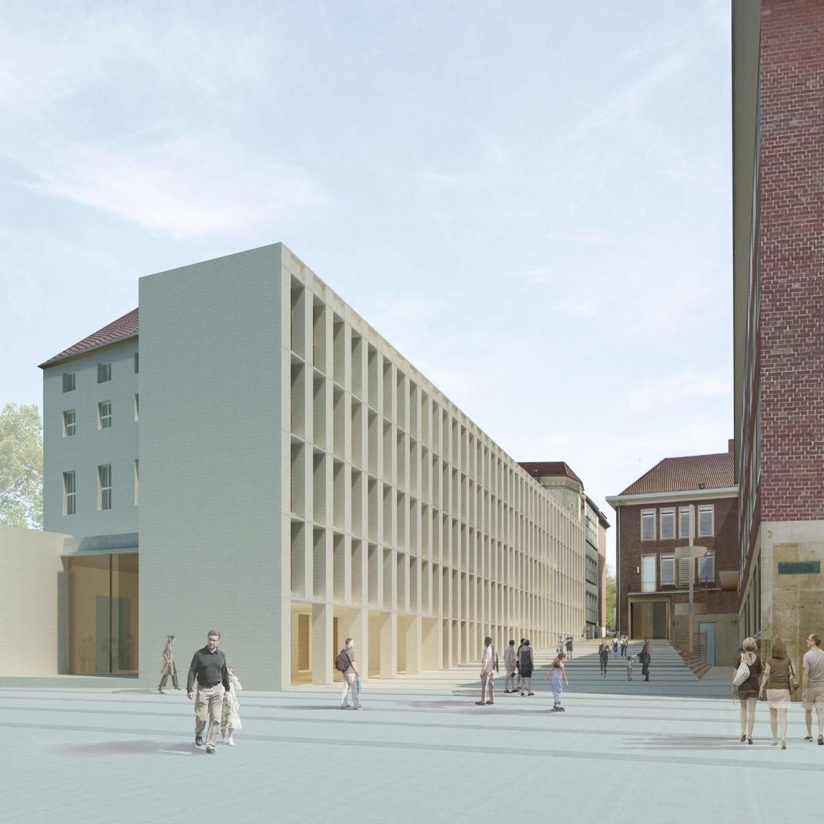 Philosophikum Münster: Erweiterungsbau von Peter Böhm - Zeichnung: Peter Böhm Architekten