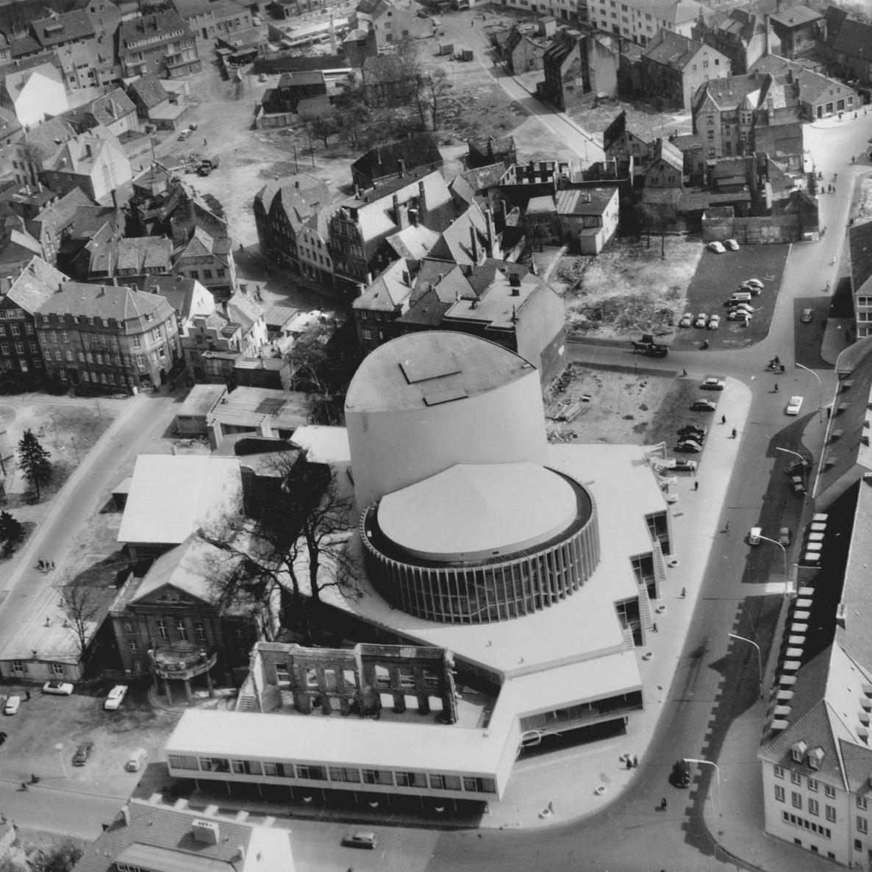 Das neue Theater in Münster, Luftbild 1956 - Foto: Plan und Karte G.m.b.H.
