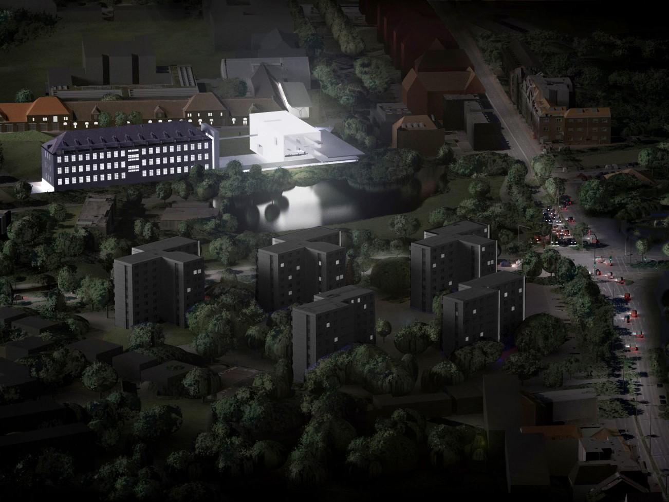 Pro Leonardo-Campus: Entwurf für eine Musikhochschule auf dem Leonardo-Campus, mit Blick zum Ring / Steinfurter Straße - Entwurf: Bühler & Bühler, Schüring Architekten.