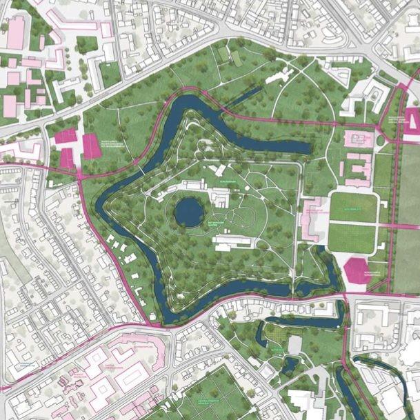 Schlossareal Münster - Entwurf: Urban Catalyst - Quelle: Stadt Münster, Dezernat für Planung, Bau und Wirtschaft, Internationale Ideenwerkstatt Münster