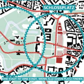 Schlossareal Münster - Entwurf: Lorenzen Mayer - Quelle: Stadt Münster, Dezernat für Planung, Bau und Wirtschaft, Internationale Ideenwerkstatt Münster