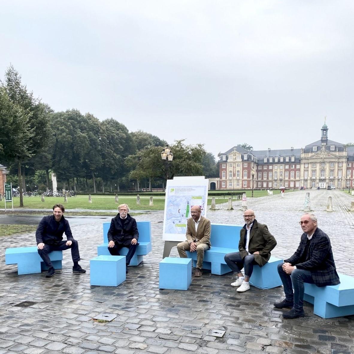 Schloss Platz Kultur 2020 - Pressekonferenz 3.9.20: Stefan Rethfeld, Ulrich Krüger, Christian Schmitz, Martin Heppner, Rüdiger Wiechers (v.l.n.r.)