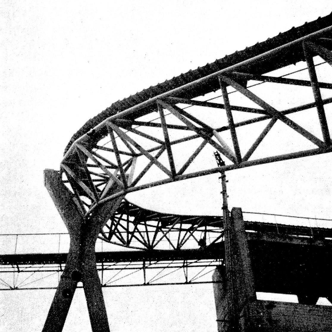 Stefan Polónyi: Faltenbandsystem im Schotterwerk Risse, Warstein/Westfalen - Foto: Bauwelt, 1961